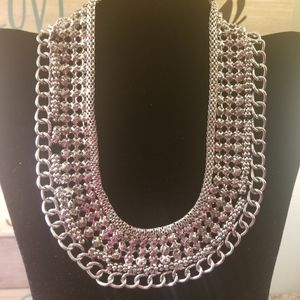 Silver Sparkly Wrap Necklace
